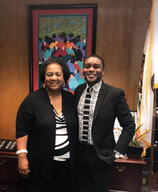 Fellow Kensley Davis with Assembly Member Shirley Weber